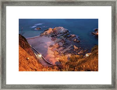 Costa Brava Beach And Sea Shore At Night Framed Print by Artur Bogacki