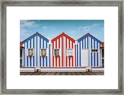 Costa Nova Houses 1 Framed Print by Carlos Caetano