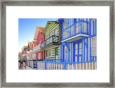 Costa Nova Houses 4 Framed Print by Carlos Caetano