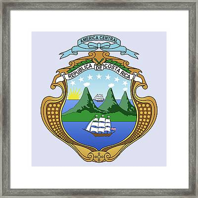 Framed Print featuring the drawing Costa Rica Coat Of Arms by Movie Poster Prints
