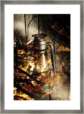 Cosy Open Fire. Cottage Artwork Framed Print