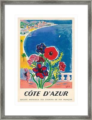 1947 Cote D'azur French Riviera Vintage World Travel Poster Framed Print