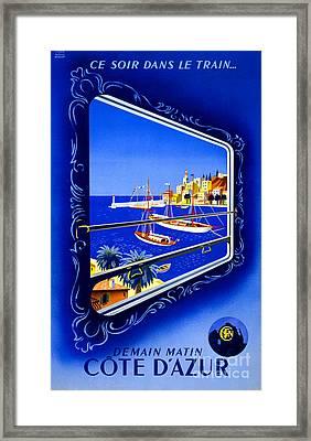 Cote D'azur Vintage Poster Restored Framed Print