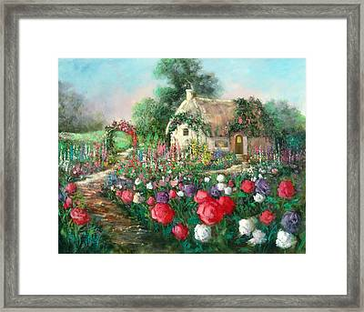 Cotswold Rose Garden Framed Print by Sally Seago
