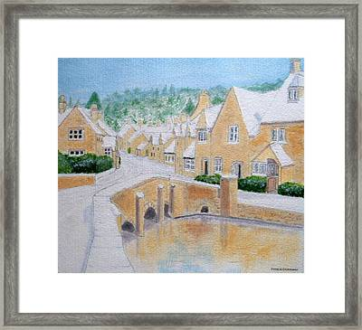 Cotswold Winter - Castle Combe Framed Print by Peter Farrow