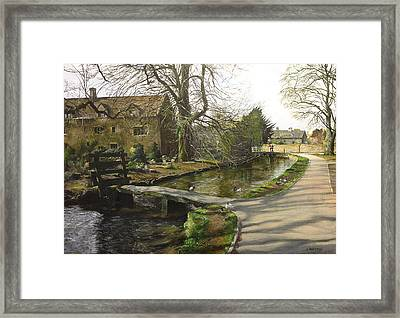 Framed Print featuring the painting Cotswolds Scene. by Harry Robertson