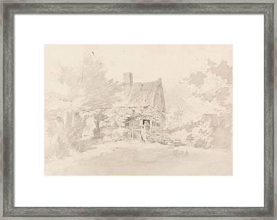 Cottage Among Trees Framed Print