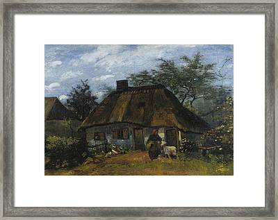 Cottage And Woman With Goat Framed Print by Vincent van Gogh