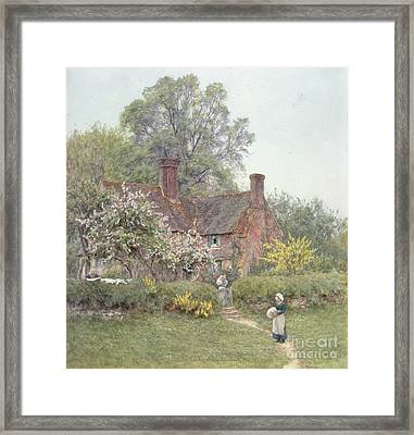 Cottage At Chiddingfold Framed Print by Helen Allingham
