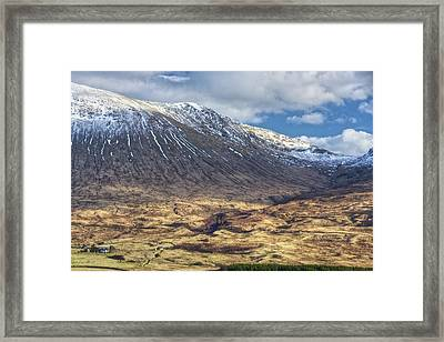 Cottage At The Base Of The Mountain Framed Print