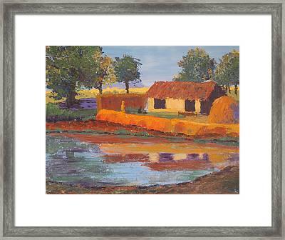 Cottage By The Pond Framed Print by Art Nomad Sandra  Hansen