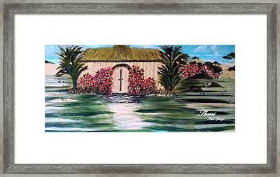 Framed Print featuring the painting Cottage By The Sea by Sherri  Of Palm Springs
