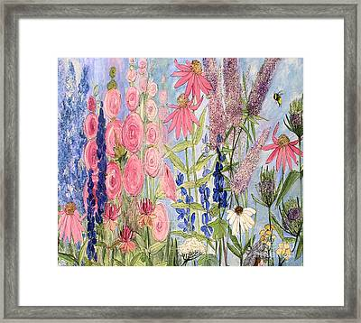 Cottage Flowers With Dragonfly Framed Print by Laurie Rohner