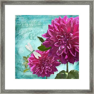 Cottage Garden - Dinner Plate Dahlias W Dragonfly Framed Print by Audrey Jeanne Roberts