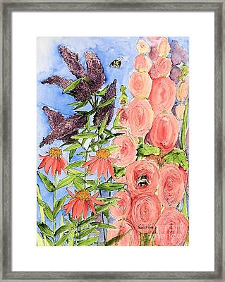 Framed Print featuring the painting Cottage Garden Hollyhock Bees Blue Skie by Laurie Rohner