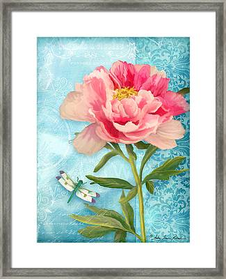 Cottage Garden Pink Peony W Dragonfly Framed Print by Audrey Jeanne Roberts