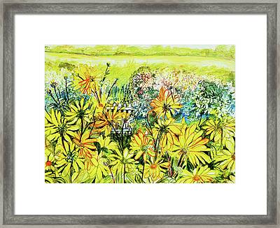 Cottage Gate Seen Through Sun Daisies Framed Print by Joan Thewsey