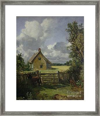 Cottage In A Cornfield Framed Print by John Constable