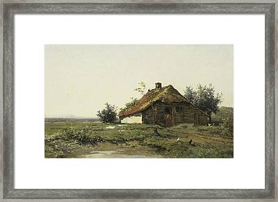 Cottage In An Open Field Framed Print