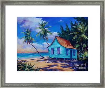 Beach Cottage Framed Print by John Clark