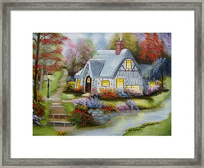 Cottage In Fall Framed Print