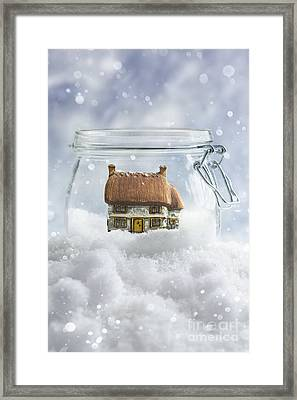 Cottage In Snow Framed Print by Amanda Elwell
