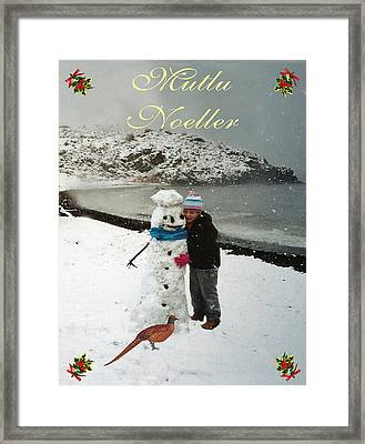 Cottage Merry Christmas Turkish Framed Print