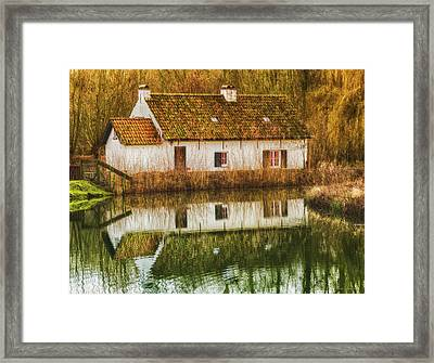 Cottage Reflection Framed Print