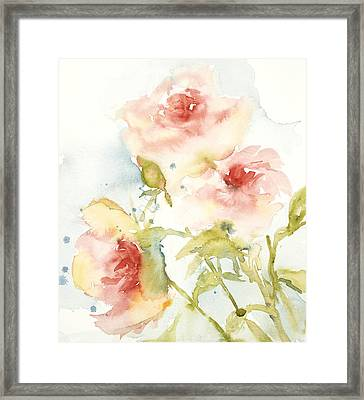 Framed Print featuring the painting Cottage Roses by Sandra Strohschein