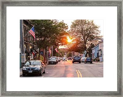 Cottage Street Summer Sunset Framed Print