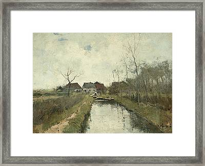 Cottage To A Ditch Framed Print