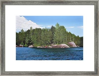 Framed Print featuring the painting Cottage View Silver Lake by Kenneth M Kirsch