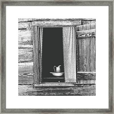 Cottage Window - Bw Framed Print