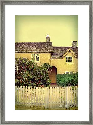 Cottage With A Picket Fence Framed Print by Jill Battaglia