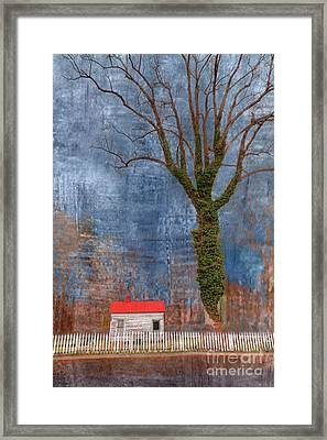 Cottage With Red Roof Framed Print by Larry Braun