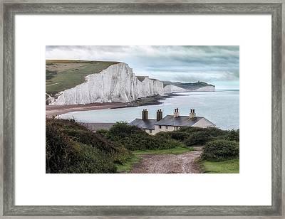 Cottages At Seven Sisters - England Framed Print