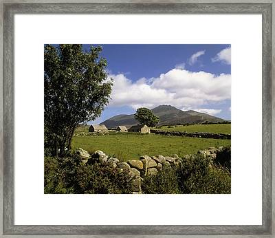 Cottages On A Farm Near The Mourne Framed Print