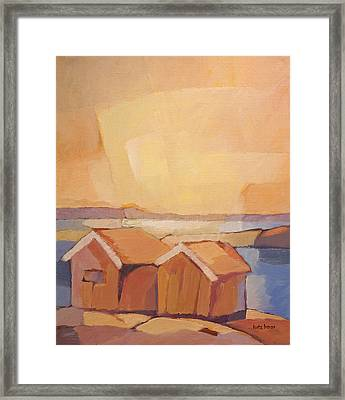 Cottages Seascape Framed Print by Lutz Baar
