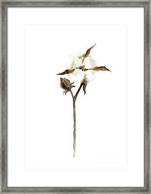 Cotton Anniversary Gift For Her, White Taupe Beige Brown Wall Decor Framed Print