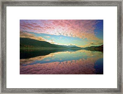 Framed Print featuring the photograph Cotton Candy Clouds At Skaha Lake by Tara Turner