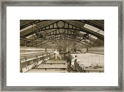 Cotton Factory Floor In 1830s Showing Framed Print by Vintage Design Pics