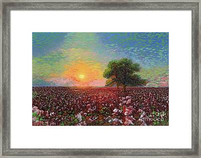 Cotton Field Sunset Framed Print