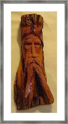 Cottonwood Bark  Wood Spirit Framed Print by Russell Ellingsworth