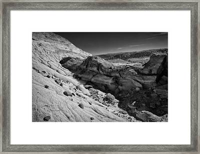 Cottonwood Creek Strange Rocks 7 Bw Framed Print