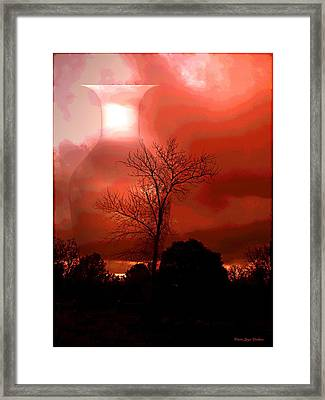 Framed Print featuring the photograph Cottonwood Crimson Sunset by Joyce Dickens