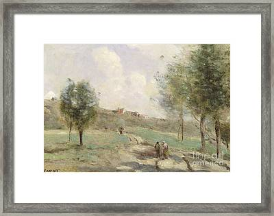 Coubron Ascending Path Framed Print by Jean Baptiste Camille Corot