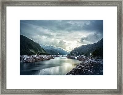 Cougar Reservoir On A Snowy Day Framed Print