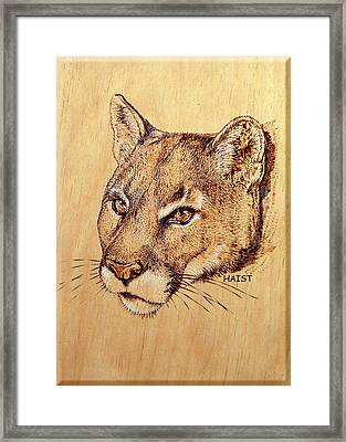 Framed Print featuring the pyrography Cougar by Ron Haist