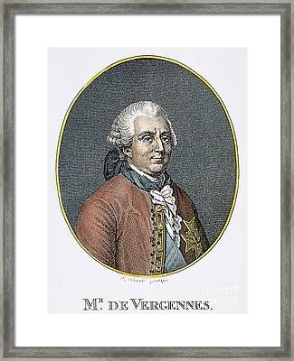 Count De Vergennes (1717-1787). Charles Gravier, Comte De Vergennes, French Statesman And Diplomat.  Steel Engraving, 19th Century Framed Print