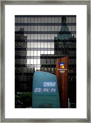 Countdown Clock Olympic Winter Games Vancouver Bc Canada 2010 Framed Print by Christine Till